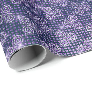 Papel De Regalo Púrpura moderna de la lila del espiral de la plata