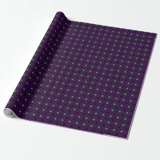 Papel De Regalo Púrpura oscura con los lunares verdes y negros
