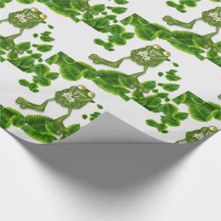 Papel De Regalo Rana verde linda del dibujo animado con un ramo de