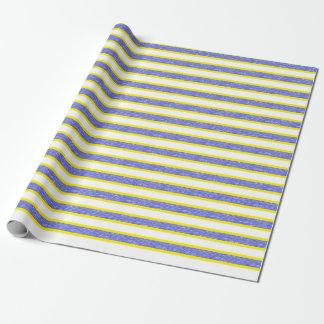 Papel De Regalo Rayas azules estáticas resumidas amarillo