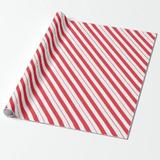 Papel De Regalo Rayas blancas y de color rojo oscuro de la