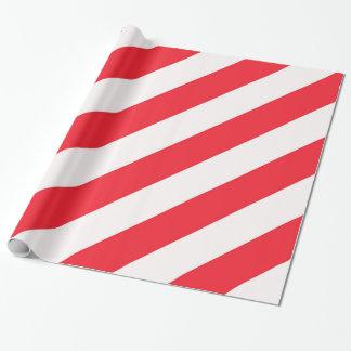 Papel De Regalo Rayas diagonales rojas y blancas del bastón de