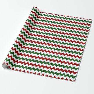 Papel De Regalo Rayas verdes blancas rojas de Chevron del zigzag