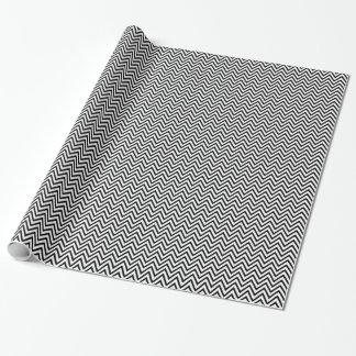 Papel De Regalo Regalo negro y blanco de Chevron del zigzag