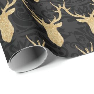 Papel De Regalo Reno elegante del navidad del oro en el damasco