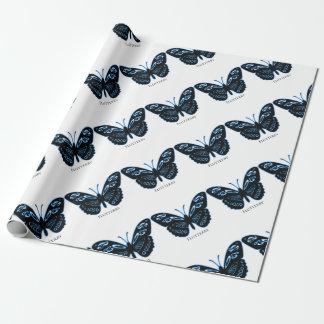 Papel De Regalo Resplandor azul negro de Flutterby