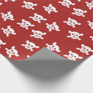 Papel De Regalo Rojo con el cráneo blanco y la bandera pirata