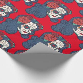 Papel De Regalo Rosas rojos grandes del cráneo femenino del azúcar