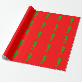 Papel De Regalo Seahorse costero rojo y verde de la decoración del