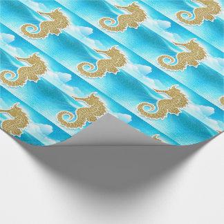 Papel De Regalo Seahorse de oro con el azul de océano
