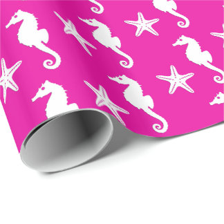 Papel De Regalo Seahorse y estrellas de mar - blanco en rosa