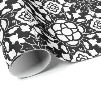 Papel De Regalo Teja marroquí floral, blanco y negro