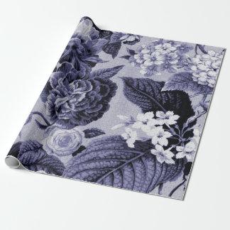Papel De Regalo Tela floral No.1 de Toile del vintage azul de la