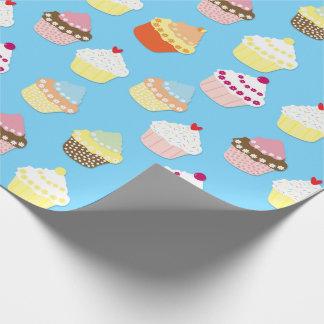 Papel De Regalo Tortas azules en colores pastel pálidas de la taza