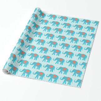 Papel De Regalo Turquesa verde azulada, elefantes azules, en rayas