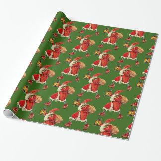 Papel De Regalo Verde de la linterna de Papá Noel del vintage que