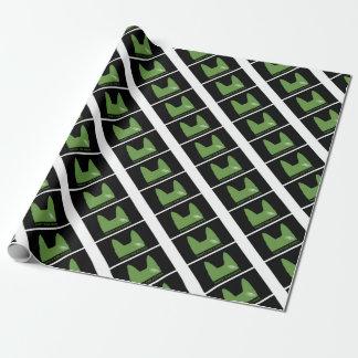 Papel De Regalo Verde de la PLUMA en negro