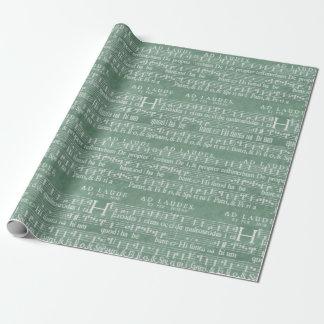 Papel De Regalo Verde medieval del trullo del manuscrito de la