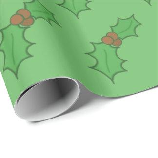 Papel De Regalo Verde rojo de las bayas del navidad de la hoja