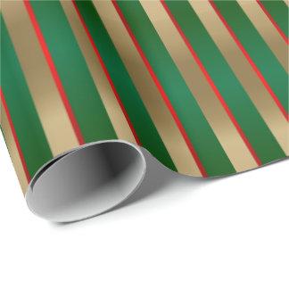 Papel De Regalo Verde, rojo y rayas del navidad del oro