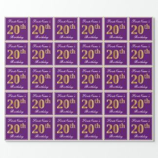 Papel De Regalo Vigésimo cumpleaños del oro elegante, púrpura,