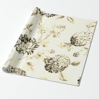 Papel De Regalo Vintage antiguo Toile floral botánico del oro