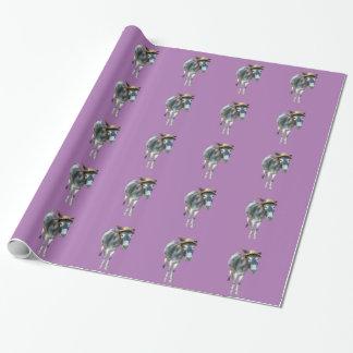 Papel De Regalo Violeta el burro en gorra de paja con las flores