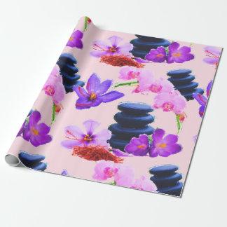 Papel De Regalo Zen de las flores del azafrán y de la orquídea de