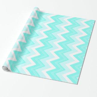 Papel De Regalo Zigzags de las azules turquesas y del blanco