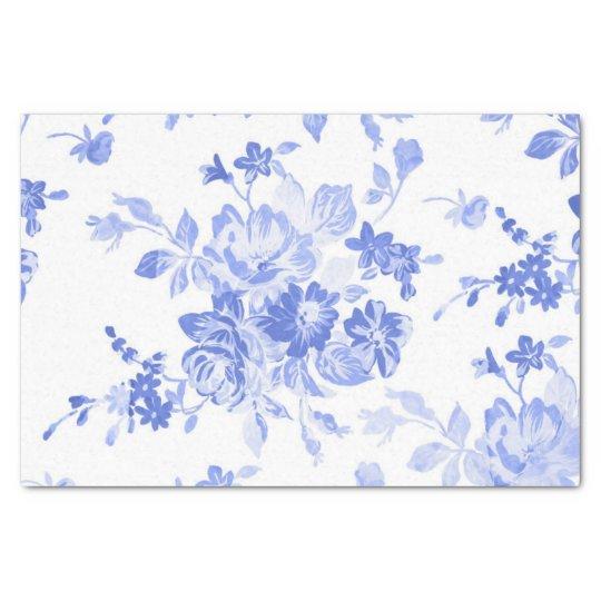 Papel De Seda Acuarela azul floral