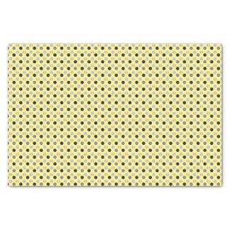 Papel De Seda Amarillo claro con negro, gris y lunares del oro