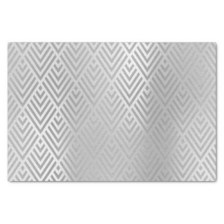 Papel De Seda Art déco metálico de Chevron de los gris plateados