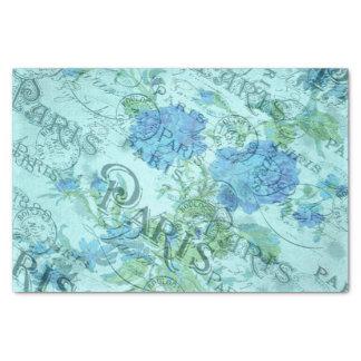 Papel De Seda Arte floral francés de las azules turquesas