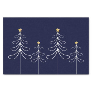 Papel De Seda Azul minimalista elegante del diseño del árbol de