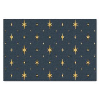 Papel De Seda Azules marinos con las estrellas metálicas del oro