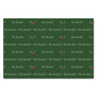 Papel De Seda Bayas del acebo de Feliz Navidad de la guinga