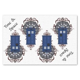 Papel De Seda Caja británica azul Steampunk del tiempo y de