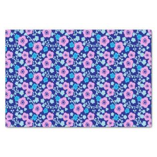 Papel De Seda Ciruelo japonés rico del estampado de flores azul