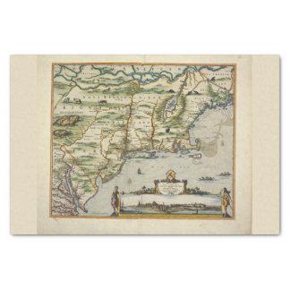 Papel De Seda Coloree el mapa de Viejo Mundo de Mar del Norte de