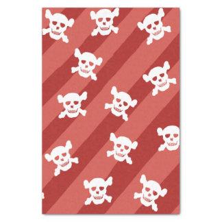 Papel De Seda Cráneo blanco grande y bandera pirata en rayas
