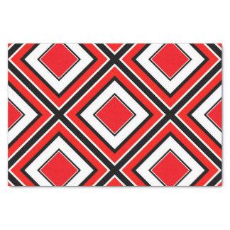 Papel De Seda Diamante blanco negro rojo geométrico