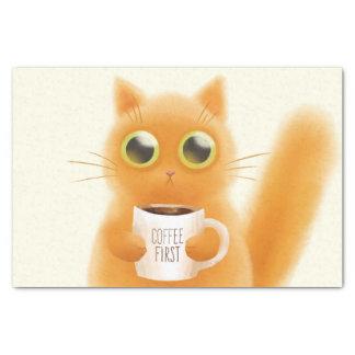 Papel De Seda El gatito lindo pintado a mano con café primero