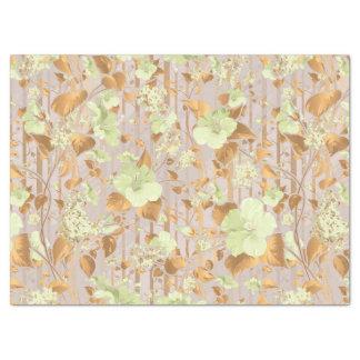 Papel De Seda El hibisco florece el cobre de la verde menta