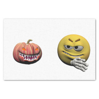 Papel De Seda Emoticon amarillo o smiley de Halloween