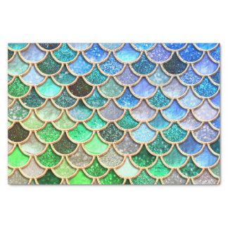 Papel De Seda Escalas brillantes azulverdes de la sirena del