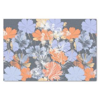 Papel De Seda Estampado de flores anaranjado violeta gris del