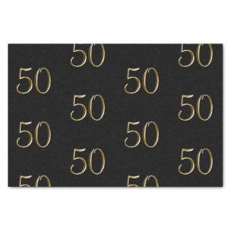 Papel De Seda Falso 50.o cumpleaños metálico del oro el 50% el