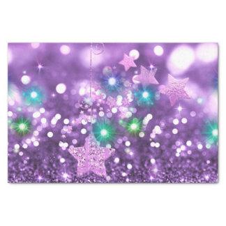 Papel De Seda Falso brillo púrpura de Bokeh y estrellas