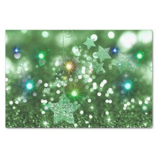 Papel De Seda Falso brillo verde de Bokeh y estrellas brillantes