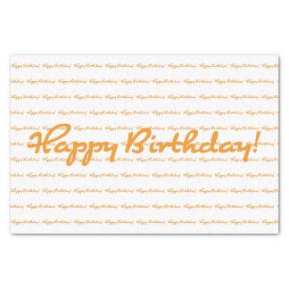 Papel De Seda ¡Feliz cumpleaños! Escritura casual anaranjada de